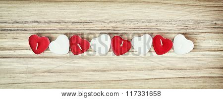 Picture Of Red And White Heart Candles On The Wooden Background, Valentine's Day