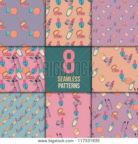 Makeup seamless pattern set