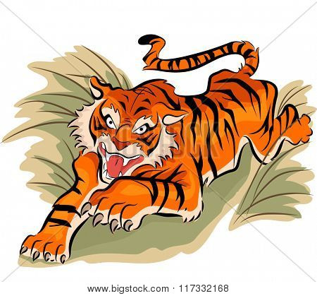Illustration of a Crouching Tiger Preparing to Attack