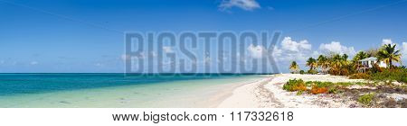 Panorama of a beautiful beach on Barbuda island in Caribbean