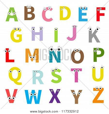 Alphabet. English Abc. Letters With Face, Eyes. Education Cards For Kids Isolated White Background F