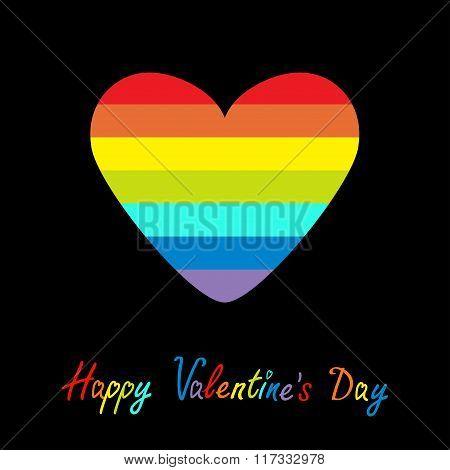 Happy Valentines Day. Love Card. Rainbow Heart. Gay Lgbt Symbol. Flat Design.