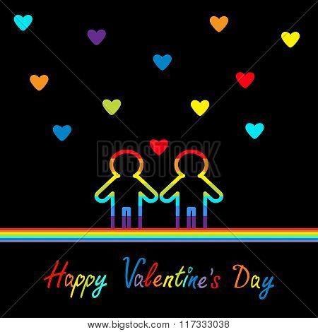 Happy Valentines Day. Love Card. Gay Marriage Pride Symbol Two Contour Rainbow Line Man Lgbt Icon. H