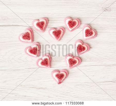 Valentine's Heart Made Of Sweet Pink Gum Candies, Valentine's Day
