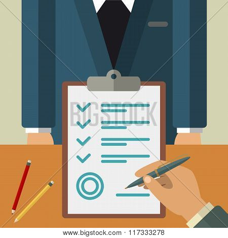 Business agreement concept illustration. Vector flat agreement illustration.