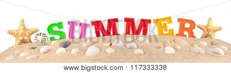 Summer Letters On A Beach Sand On A White