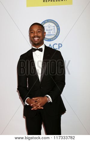 LOS ANGELES - FEB 5:  Michael B Jordan at the 47TH NAACP Image Awards Arrivals at the Pasadena Civic Auditorium on February 5, 2016 in Pasadena, CA