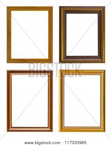 Gold Frame Elegant Vintage Isolated On White Background