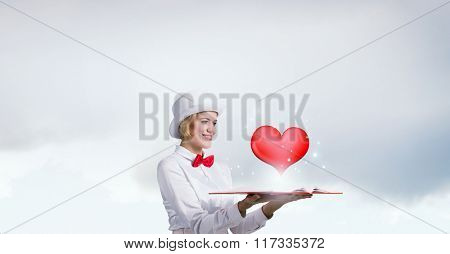 Pretty woman opening romantic book