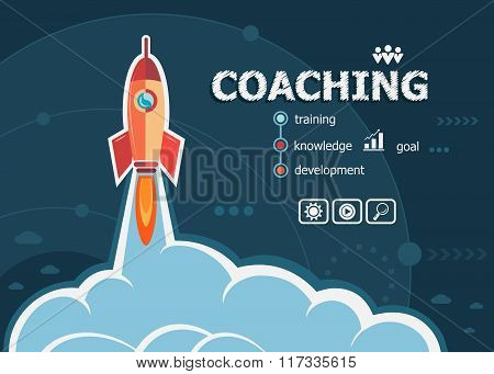 Coaching Design And Concept Background With Rocket.