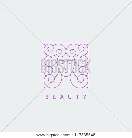 Female Face Logo Template