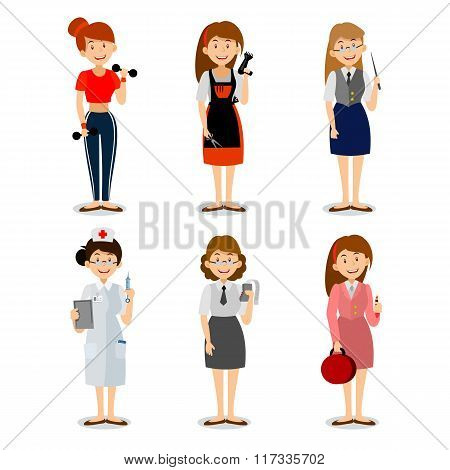 Set of colorful profession woman flat style icons teacher, fitness trainer, the nurse, the seller of