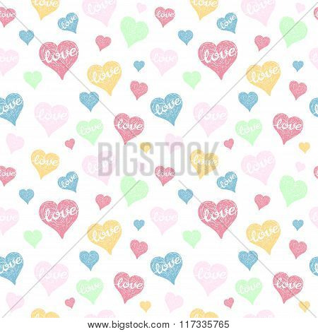 Seamless Pattern With Hearts. Valentines Day Background. Vector Holiday Texture.