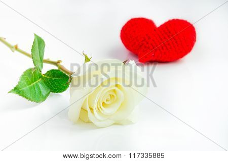 White Rose With Red Heart Crochet On White Background