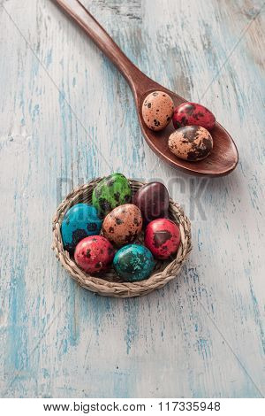 Happy Easter Quail Eggs In A Basket