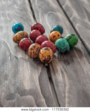 Easter Concept. Quail Eggs  On Wooden Background.selective Focus