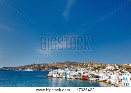 Little Venice popular tourist area at village on Mykonos island, Greece, Europe