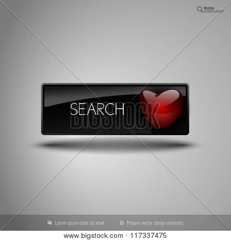 Black Business Button With Red Heart. Vector Design Elements For Valentines.