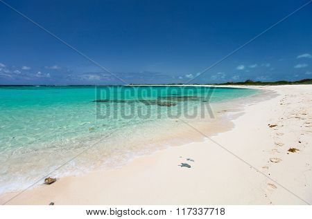 Beautiful tropical beach with palm trees, white sand, turquoise ocean water and blue sky at Anegada, British Virgin Islands in Caribbean