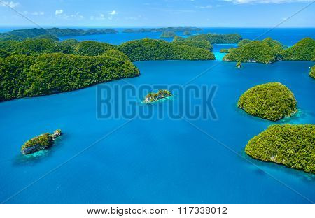 Beautiful view of The Arch landmark in Palau from above