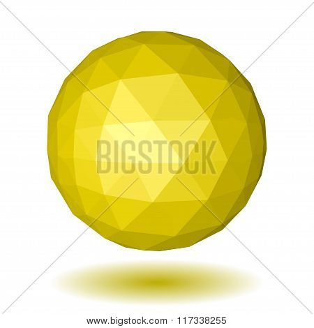 Yellow Low Polygonal Sphere Of Triangular Faces