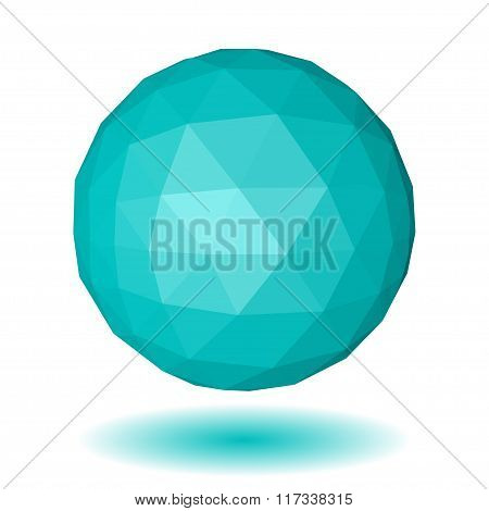 Light Blue Low Polygonal Sphere Of Triangular Faces