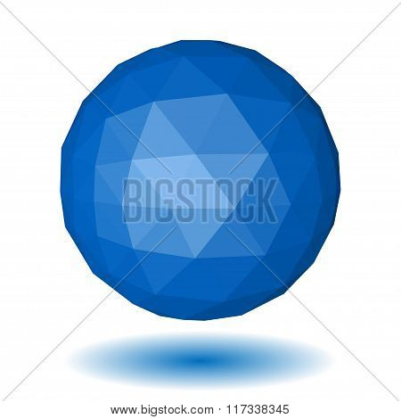 Blue Low Polygonal Sphere Of Triangular Faces