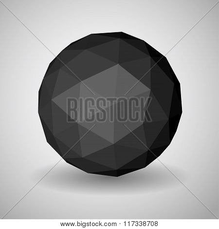Black Low Polygonal Sphere Of Triangular Faces