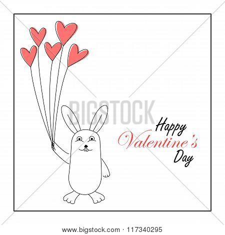 Cute bunny holding heart balloons