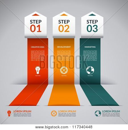 Infographic design template with marketing icons