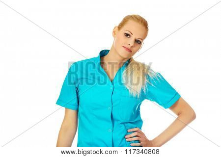 Young smiling  female doctor or nurse