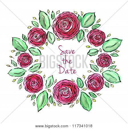 Beautiful Watercolor Roses Wreath
