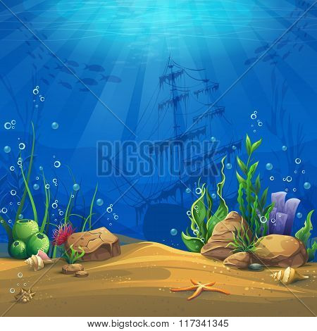Underwater World Vector Illustration Background