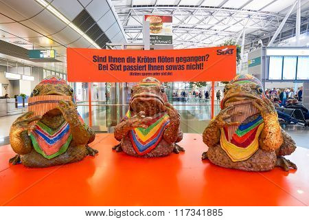 DUSSELDORF, GERMANY - SEPTEMBER 20, 2014: interior of Dusseldorf Airport. Dusseldorf Airport is the international airport of Dusseldorf, the capital of the German state North Rhine-Westphalia