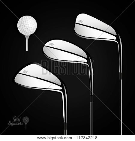 Golf Ball And Golf Stick On The Dark Background