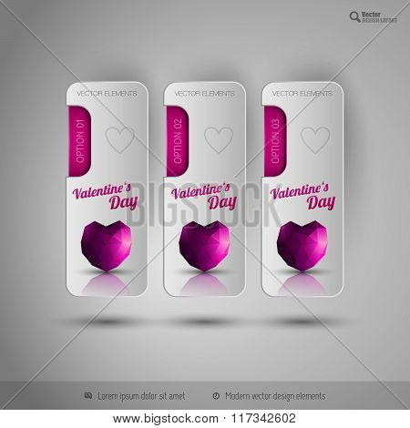 Valentine Tabs With Polygonal Heart. Vector Design Elements.