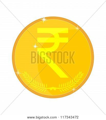Indian rupees gold coin, vector illustration