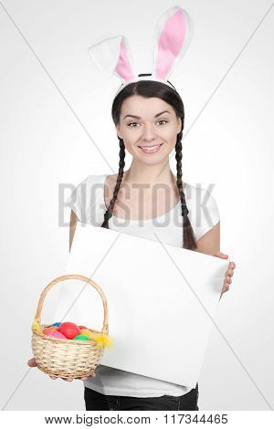 Beautiful Young Woman As Easter Bunny