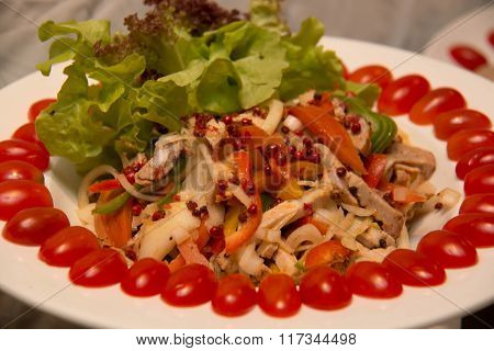 A Mixed Salad With Chicken Meat
