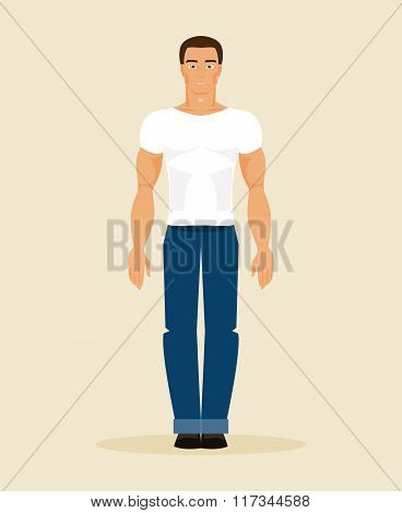 The Man In Modern Clothes. Vector Illustration