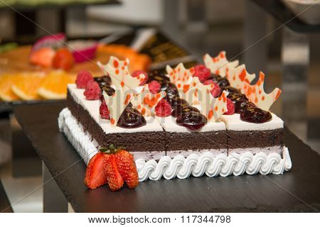 Chocolate Cream Cake On Top Bluberry Filling