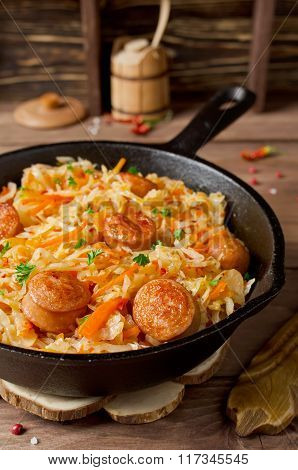 Cabbage Stew With Grilled Sausage