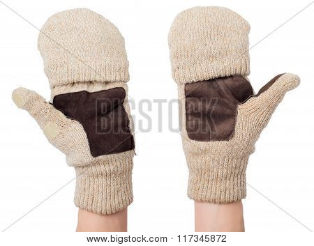 Knitted Gloves With The Cut-off Ends