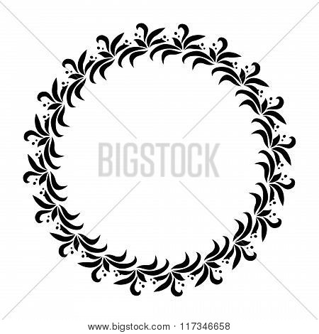 Laurel wreath circle tattoo. Black stylized ornament, leaves with berry sign on white background. Vi