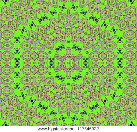 Seamless hexagon ornament green pink
