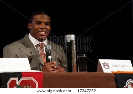 NEW YORK-DEC 11: Cam Newton, quarterback for the Auburn Tigers, attends the the 2010 Heisman Memorial Trophy Award press conference at the Marriott Marquis on December 11, 2010 in New York City.