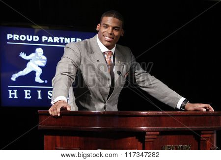 NEW YORK-DEC 11: Cam Newton, quarterback of the Auburn University Tigers, speaks after winning the 2010 Heisman Memorial Trophy Award on December 11, 2010 in New York City.
