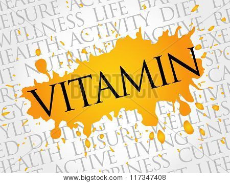 Vitamin Word Cloud, Fitness, Sport