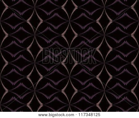 Seamless geometric abstract pattern. Rhombus bands, lines on light brown background. Brown dark colo