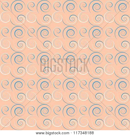 Seamless floral spiral pattern. Curled, twirl lines. Floral theme climb ornament. Twist background.